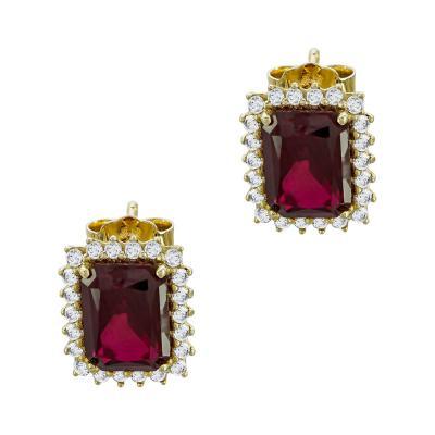 Σκουλαρίκια Με Κόκκινες Πέτρες Από Κίτρινο Χρυσό Κ14 SK78490