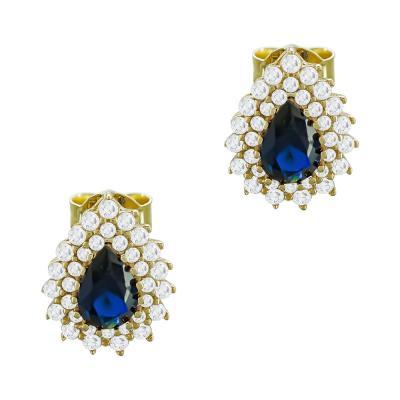 Σκουλαρίκια Με Μπλε Πέτρες Από Κίτρινο Χρυσό Κ14 SK95708