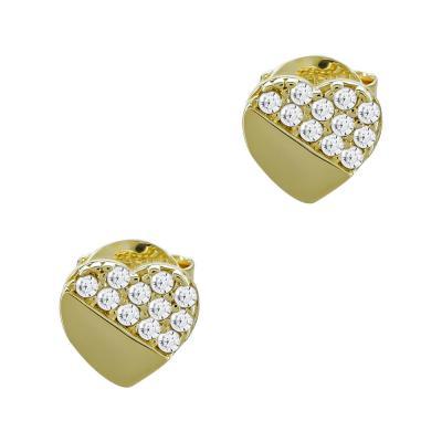 Σκουλαρίκια Καρδούλες Με Πέτρες Από Κίτρινο Χρυσό Κ14 SK05068