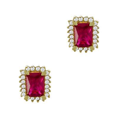 Σκουλαρίκια Με Κόκκινες Πέτρες Από Κίτρινο Χρυσό Κ14 SK00323