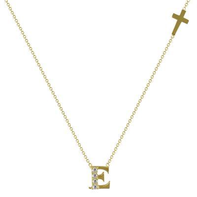 """Χρυσό Μονόγραμμα Μενταγιόν """"E"""" Κ14 MG98304"""