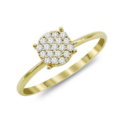 Mονόπετρο Δαχτυλίδι Με Διαμάντια Brilliant Aπό Κίτρινο Χρυσό Κ18 R22424
