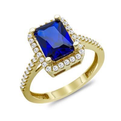 Δαχτυλίδι Μονόπετρο Με Μπλε Πέτρα Από Κίτρινο Χρυσό Κ14 DX03375