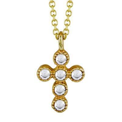 Μενταγιόν Με Σταυρουδάκι Από Κίτρινο Χρυσό Κ9 M03986