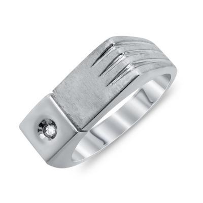 Ανδρικό Δαχτυλίδι Με Διαμάντι Brilliant από Λευκό Χρυσό K18 ADX102