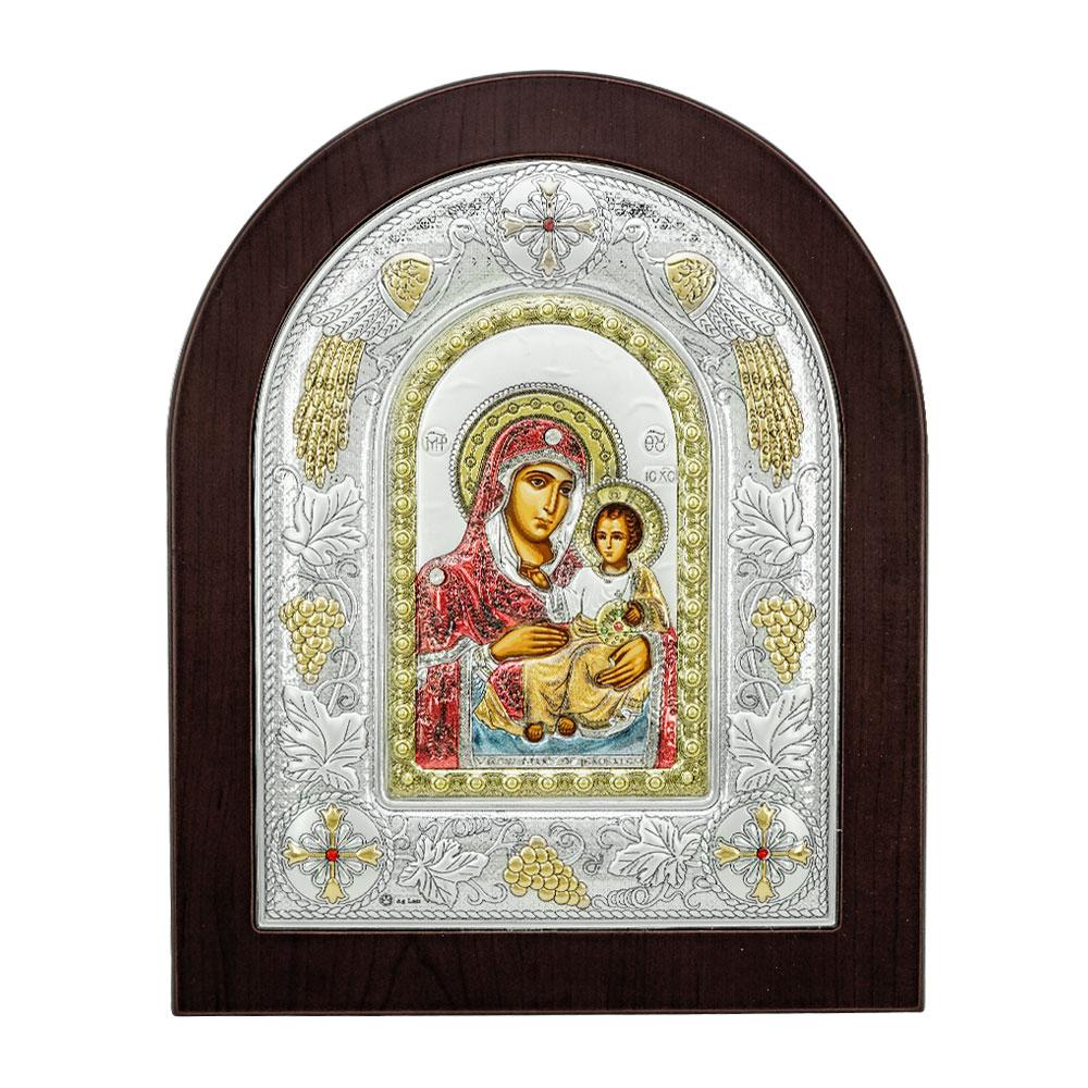 Ασημένια Εικόνα με την Παναγία σε Kαφέ Ξύλο RMA/E3102BX-C