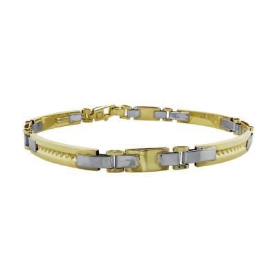 Ανδρικό Βραχιόλι Από Δίχρωμο Χρυσό Κ9 AVR01827