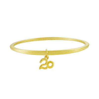 Βραχιόλι Βέργα Γούρι 20 από Επιχρυσωμένο Ατσάλι GR406