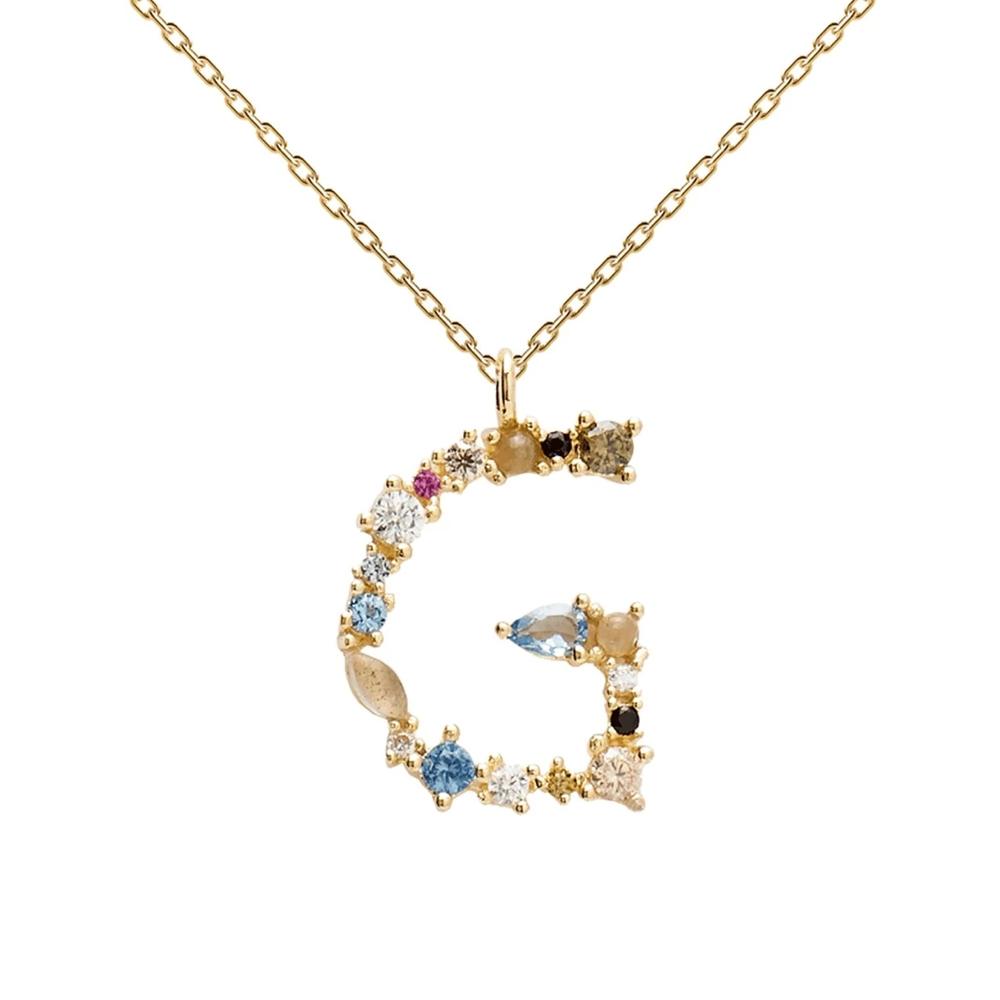 "PDPAOLA Letter Collection Κολιέ Μονόγραμμα ""G"" από Επιχρυσωμένο Ασήμι CO01-102-U"