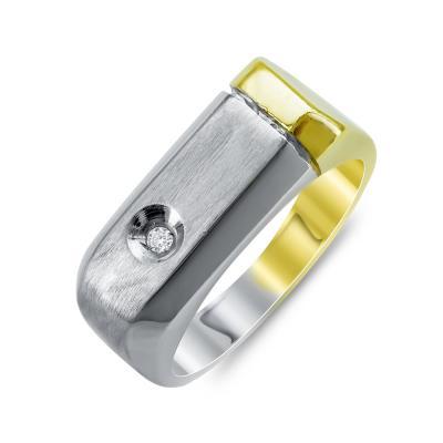 Ανδρικό Δαχτυλίδι Με Διαμάντι Brilliant από Δίχρωμο Χρυσό K18 ADX108