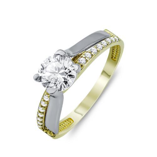 Δαχτυλίδι Μονόπετρο Από Δίχρωμο Χρυσό Κ9 DX03930