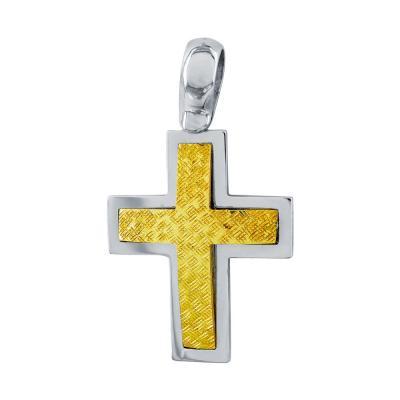 Σταυρός Βάπτισης Aνδρικός Σε Δίχρωμο Χρυσό 18 Καρατίων ST2652