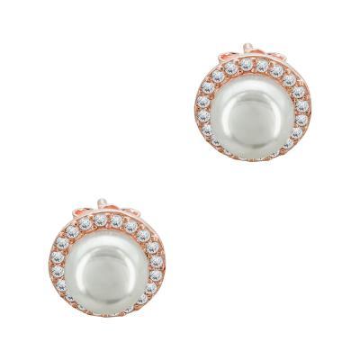 Σκουλαρίκια Mε Μαργαριτάρια Aπό Ροζ Επιχρυσωμένο Ασήμι SK1073