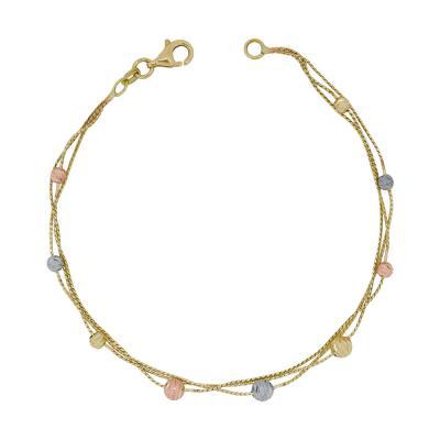 Βραχιόλι Mε Διαμανταρισμένες Μπαλίτσες Από Tρίχρωμο Χρυσό Κ14 VR01390