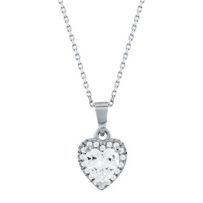 Κολιέ Καρδιά Από Λευκό Χρυσό Κ14 KL02470
