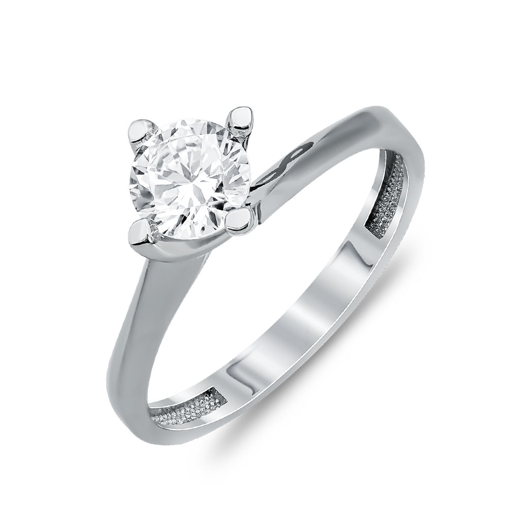 Δαχτυλίδι Μονόπετρο Από Λευκό Χρυσό Κ14 DX00185
