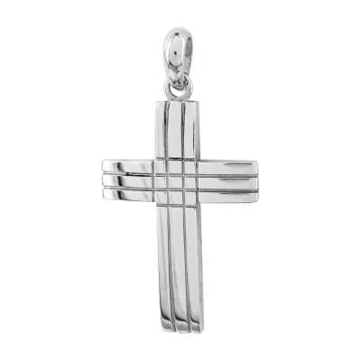 Σταυρός Βάπτισης Aνδρικός Σε Λευκό Χρυσό 18 Καρατίων ST26557