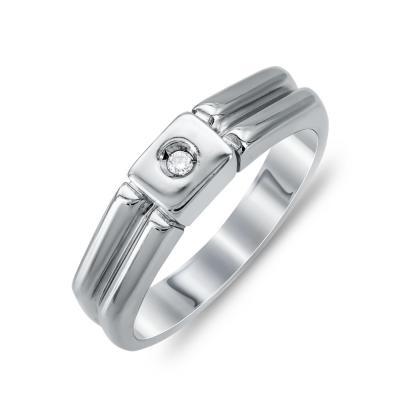 Ανδρικό Δαχτυλίδι Με Διαμάντι Brilliant από Λευκό Χρυσό K18 ADX105