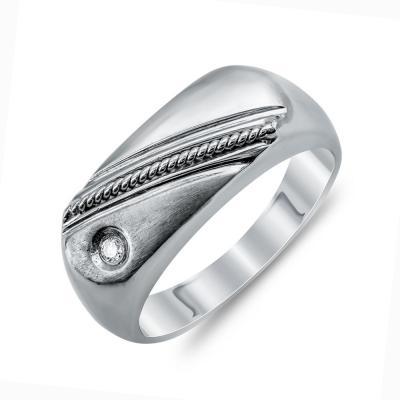 Ανδρικό Δαχτυλίδι Με Διαμάντι Brilliant από Λευκό Χρυσό K18 ADX104