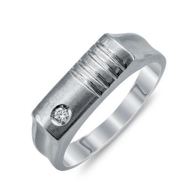 Ανδρικό Δαχτυλίδι Με Διαμάντι Brilliant από Λευκό Χρυσό K18 ADX106