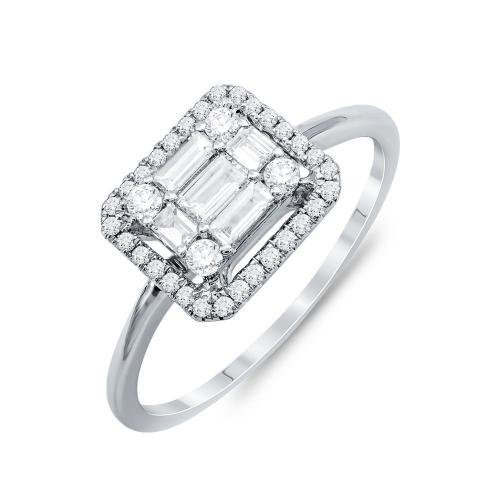 Mονόπετρο Δαχτυλίδι Με Διαμάντια Brilliant Aπό Λευκό Χρυσό Κ18 DX822