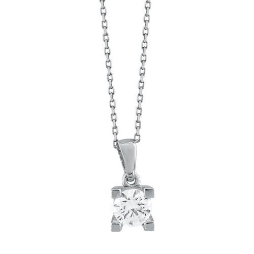 Μενταγιόν Με Πέτρες Από Λευκό Χρυσό Κ14 M99596