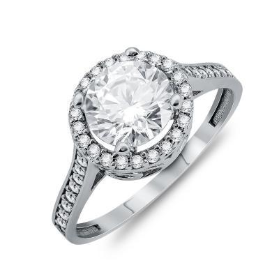 Δαχτυλίδι Μονόπετρο Από Λευκό Χρυσό Κ9 DX03575