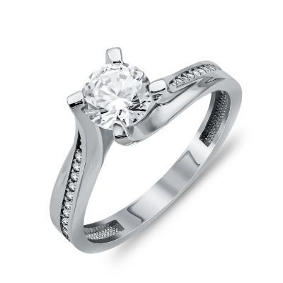Δαχτυλίδι Μονόπετρο Από Λευκό Χρυσό Κ14 DX04469