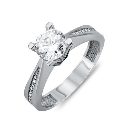 Δαχτυλίδι Μονόπετρο Από Λευκό Χρυσό Κ14 DX95107