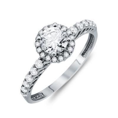 Δαχτυλίδι Μονόπετρο Από Λευκό Χρυσό Κ9 DX03935