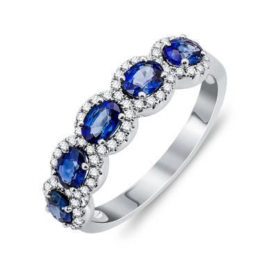 Mονόπετρο Δαχτυλίδι Με Ζαφείρι και Διαμάντια Brilliant Aπό Λευκό Χρυσό Κ18 DX01134