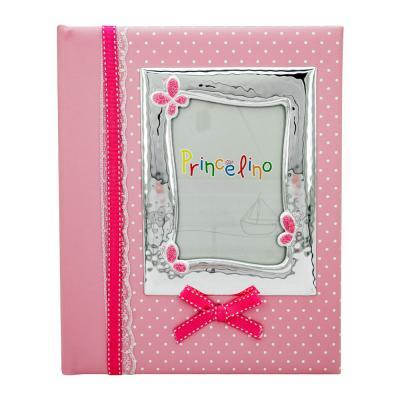 Princelino Παιδικό Δερμάτινο Άλμπουμ για Kορίτσι με Κορνίζα Aπό Ασήμι MA/A125M-R