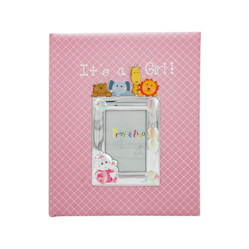Princelino Παιδικό Δερμάτινο Άλμπουμ για Kορίτσι με Κορνίζα Aπό Ασήμι MA/A130S-R