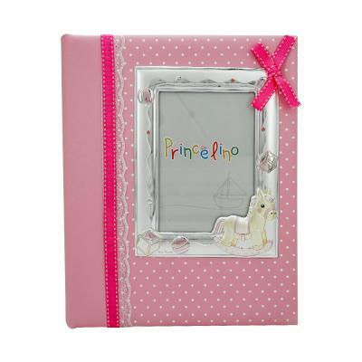 Princelino Παιδικό Δερμάτινο Άλμπουμ για Kορίτσι με Κορνίζα Aπό Ασήμι MA/A140M-R