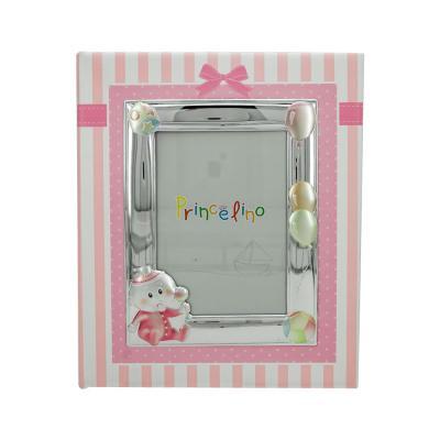 Princelino Παιδικό Δερμάτινο Άλμπουμ για Kορίτσι με Κορνίζα Aπό Ασήμι MA/A130L-R
