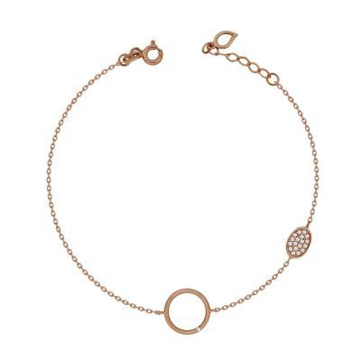 Βραχιόλι Mε Κύκλο Από Ροζ Χρυσό Κ14 VR04225