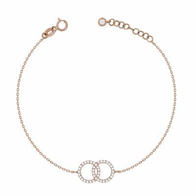 Βραχιόλι Με Ενωμένους Κύκλους Από Ροζ Χρυσό Κ14 VR04535