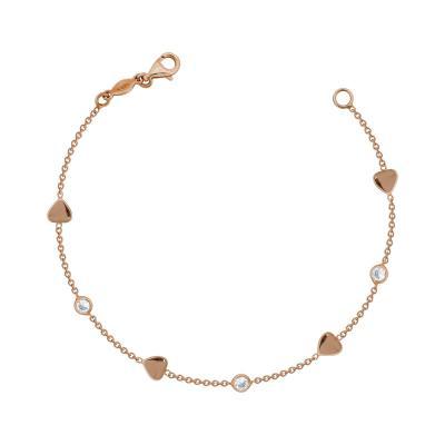 Βραχιόλι Με Καρδούλες Από Ροζ Χρυσό Κ14 VR94152