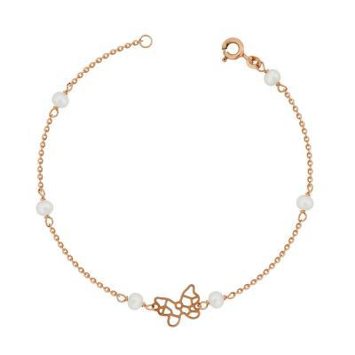 Βραχιόλι Με Πεταλούδα Από Ροζ Χρυσό Κ9 VR97305