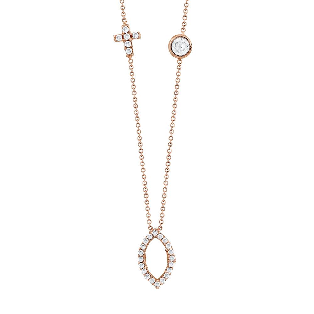 Κολιέ Mε Πέτρες Από Ροζ Χρυσό Κ9 KL92314
