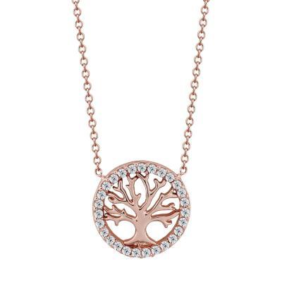 Μενταγιόν Το Δέντρο Της Ζωής Από Ροζ Χρυσό Κ9 M98683