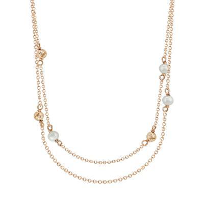 Κολιέ Με Διπλή Αλυσίδα Από Ροζ Χρυσό Κ9 KL04010