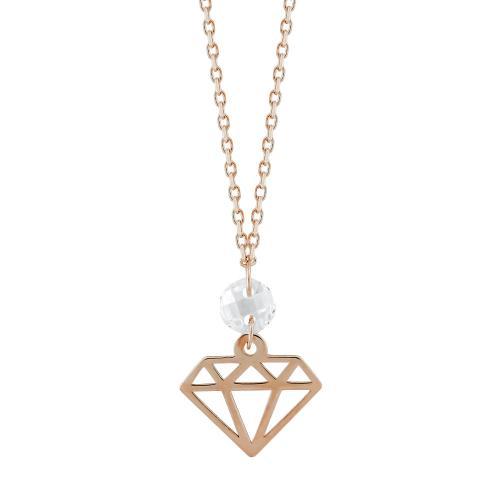 Μενταγιόν Διαμάντι Με Πέτρες Από Ροζ Χρυσό Κ14 M04683