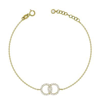 Βραχιόλι Με Ενωμένους Κύκλους Από Kίτρινο Χρυσό Κ14 VR04534
