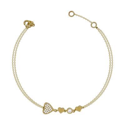 Βραχιόλι Με Καρδούλες Από Kίτρινο Χρυσό Κ14 VR04707
