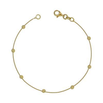 Βραχιόλι Mε Διαμανταρισμένες Μπαλίτσες Από Kίτρινο Χρυσό Κ14 VR95018