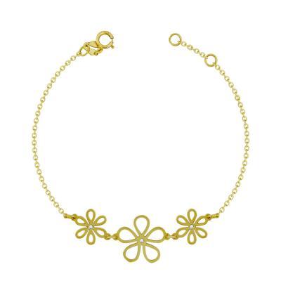 Βραχιόλι Με Λουλουδάκια Από Kίτρινο Χρυσό Κ9 VR96176