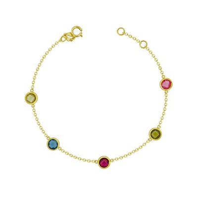 Βραχιόλι Με Πολύχρωμες Πέτρες Από Kίτρινο Χρυσό Κ9 VR99073