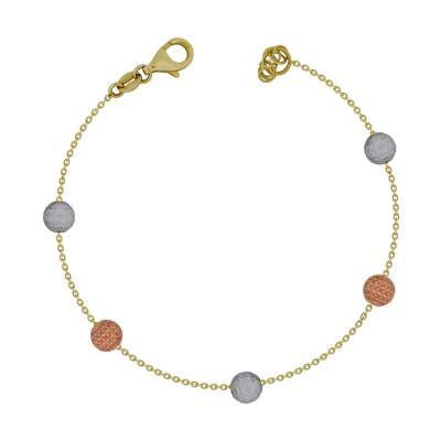 Βραχιόλι Mε Διαμανταρισμένες Μπαλίτσες Από Τρίχρωμο Χρυσό Κ14 VR77285