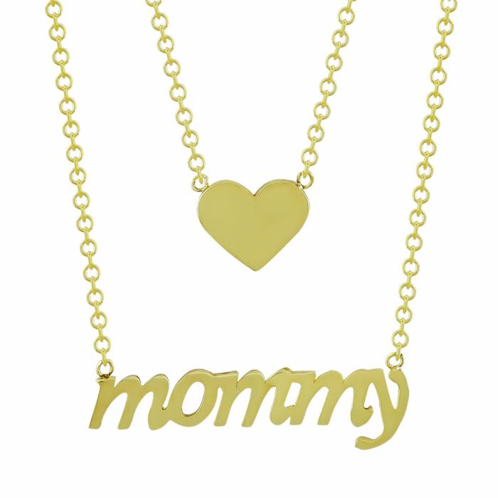 Κολιέ mommy Από Κίτρινο Χρυσό Κ9 KL01456